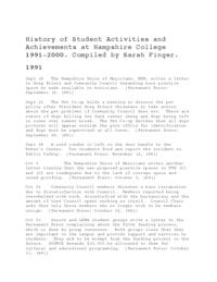 A History of Student Activities and Achievements at Hampshire College, 1991-2000