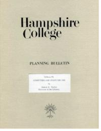 Hampshire College Planning Bulletin #4, Computers and Computer Use