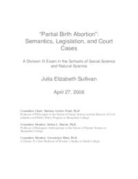 Partial birth abortion: semantics, legislation, and court cases