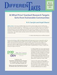 At What Price? Gardasil Research Targets Girls from Vulnerable Communities