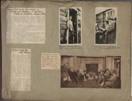 Mount Holyoke Outing Club scrapbook, including pictures and articles about the opening of the new Outing Club cabin in 1929