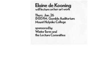 Publicity for printmaking workshop and lecture by visiting artist, Elaine de Kooning