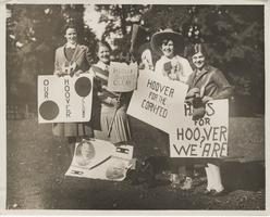 Members of the Hoover Club, Jeannette Dicke, Jessie Guernsey, Sally Copeland and Rosemary Carr campaign for their candidate, 1928
