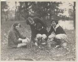 Students enjoy a day picnicking by the lake, December 2, 1926