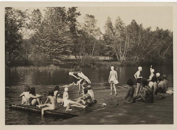 Students swim and sunbathe, ca. 1941
