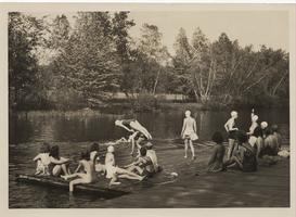 Students swim and sunbathe, ca. 1941