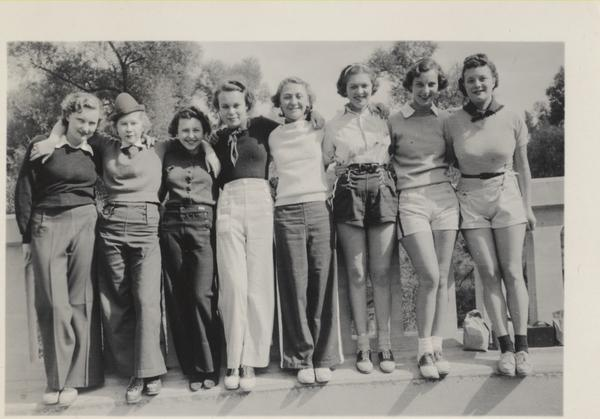 Friends Gretch, Teddy, Squawk, Comp, Ruth, Jean, Fran and Babe pose together on Mountain Day, 1936