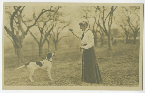 Professor Nellie Neilson with her dog