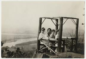 Senior Mountain Day, Commencement time, Helen Russell and three other students atop Mt. Holyoke