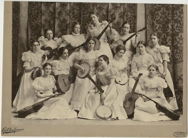 Members of the Banjo and Mandolin Clubs posing for a formal portrait