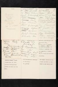 Overview of Mary Woolley's arrangement of notes she took at a lecture given by Rabindranath Tagore at Carnegie Hall, New York, during Tagore's last visit to the United States