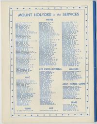 """Mount Holyoke in the Services,"" back cover of Mount Holyoke Alumnae Quarterly, May 1945 issue"