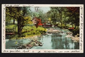 Postcard to Ruby Sanborn '03 showing Stony Brook, bridge, and Pump House from south