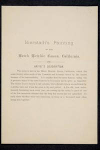 "Albert Bierstadt's description of his painting, ""Hetch Hetchy Canyon,"" the first acquisition by the Mount Holyoke Art Museum"