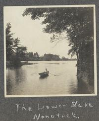 The Lower Lake Nonotuck, with Mary Haskell (Class of 1908) rowing, from album of Doris A. Melchert, Class of 1911