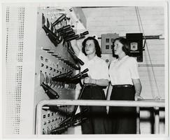 Two students, Patricia Ann Thompson '53 and Majorie Purser '56, working in control room of the Laboratory Theatre