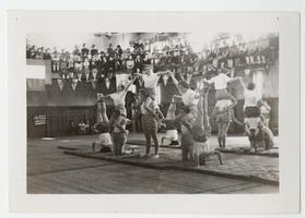 Students participating in the gymnastics event at the second Mount Holyoke Olympic Games