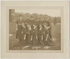 Class of 1917 field hockey team in their Sophomore year, including Florence Young, Helen Wing, Bertha Brown, Helen McAuslan, Barbara Wellington, Amy Holway, Loretta Knightly, Edith Thomas, Dorothy Camp, Ruth Woodbridge, and Ruth Graves