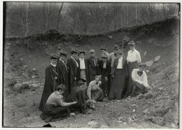 Students in Plant Culture class, working outside, from an original glass plate negative by Professor Asa Kinney