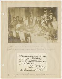 Pictures, invitation, menu, and notes from a Halloween dinner party at Mead Hall; page from the memory book of Olga Mary Herrick Kelsey x1907