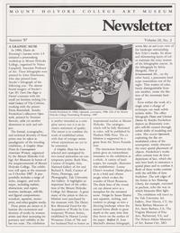 Newsletter, Mount Holyoke College Art Museum; Summer 1987; Volume 10, No. 2