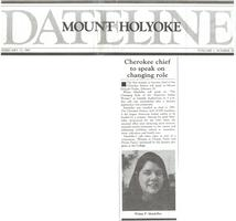 Dateline Mount Holyoke College Article: Cherokee Chief to Speak on Changing Role