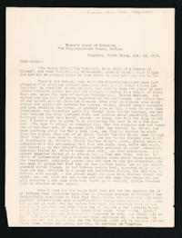 "Letter to ""Girls"" (Mount Holyoke College Students) from Alice Browne Frame, Tungchou, North China, October 25, 1909"