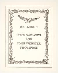 Ex Libris Helen MacLaren and John Webster Thompson, by Cleora Clark Wheeler