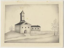 Church in a landscape, drawn by Lucy Goodale, Class of 1841
