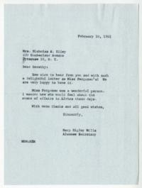 Three related letters: a 1961 letter from Alumnae Secretary, Mary Higley Mills '21, to Mrs. Nicholas H. Kiley (Dorothy S. Moore '20), in reply to Dorothy's recent letter (included) and gift to Mount Holyoke of a 1918 letter she (Dorothy) had received from
