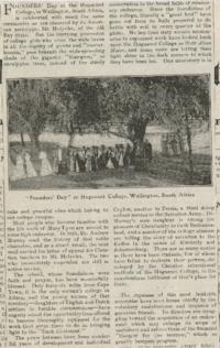 Huguenot News Letter, Vol. 3, No. 4, featuring Founders' Day at Huguenot College in Wellington, South Africa, and including articles by the two founders, Abbie P. Ferguson '56 and Anna E. Bliss '62