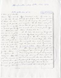 "Letter from Abbie P. Ferguson to Mount Holyoke College, quoted in handwritten ""Class Letter of the Class of 1856"""