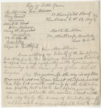 Copy of condolence letter from South Africa General Mission, Home Council, to Mrs. H. B. Allen (Margaret Eddy Ferguson), sister of Abbie P. Ferguson, concerning Miss Ferguson's death on March 27, 1919; copy by Anna C. Edwards, Class of 1859
