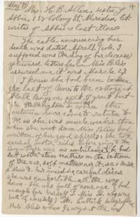 Letter about last illness of Abbie Park Ferguson from her sister, Mrs. H. B. Allen (Margaret Eddy Ferguson), transcribed by Anna C. Edwards, Class of 1859