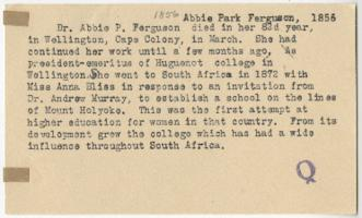 Obituary for Abbie Park Ferguson, Class of 1856