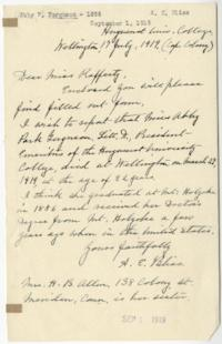 Letter from Anna E. Bliss, Class of 1862, to Miss Ruth Rafferty, Mount Holyoke Alumnae Secretary, reporting the death of Abbie Park Ferguson, Class of 1859, in Wellington, South Africa