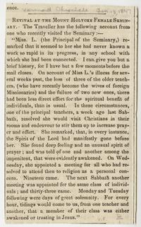 """""""Revival at the Mount Holyoke Female Seminary,"""" article from the Vermont Chronicle"""