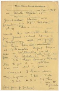 Correspondence and early draft of club constitution circulated among several administrators, including Professor Victoria Schuck, and a student, Dorothy Segal '48, pertaining to the offering of aviation ground school classes and formation of a flying club at Mount Holyoke