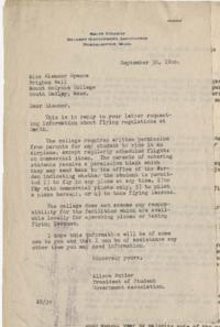 Letter from Alison Butler, President of the Smith College Student Government Association, to Mount Holyoke student Eleanor Spence, Class of 1948, with Constitution of the Smith College Flying Club attached
