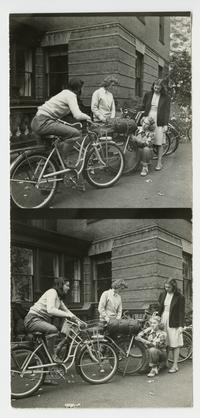 Outing Club members outside Porter Hall, preparing for a bicycle trip