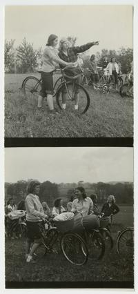 Outing Club members on a bicycle trip in the countryside