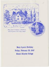 Sesquicentennial celebration of the birth of Mary Lyon, held at Mount Holyoke in February, 1947; folded announcement card with menu
