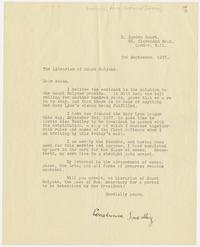Letter from Constance Smedley to the Librarian of Mount Holyoke, announcing the founding of the Mary Lyon League in 1937