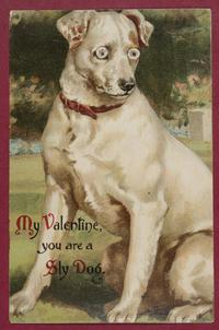 """My Valentine you are a Sly Dog,"" front and back"