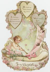 """To my Valentine with Love's Greeting,"" front and 3-D view"