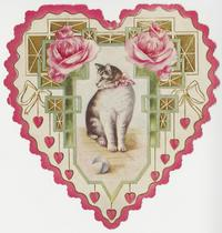 Cat framed by hearts and peonies