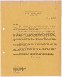 Letter from Edward Murrow to Al McCarron; London, April 26, 1945