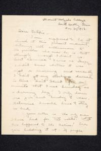 Letter from Annabelle Noss, Class of 1921, to her brother Frederick