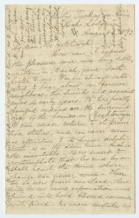 "Letter from Mary Annie Ely '61 to Mrs. Hitchcock; written at ""Hope Lodge,"" Bitlis, Turkey"