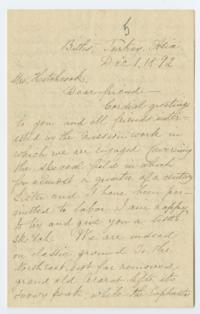 Letter from Mary Ann Caroline Ely '61 to Mrs. Hitchcock; written in Bitlis, Turkey